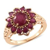 Niassa Ruby 14K YG Over Sterling Silver Flower Ring (Size 6.0) TGW 5.70 cts.