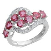 Rose Danburite, White Zircon Sterling Silver Bypass Ring (Size 5.0) TGW 3.07 cts.
