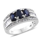 Kanchanaburi Blue Sapphire, White Topaz Platinum Over Sterling Silver Ring (Size 7.0) TGW 3.76 cts.
