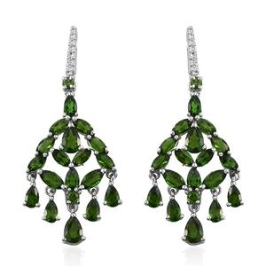 Russian Diopside, Cambodian Zircon Platinum Over Sterling Silver Earrings TGW 9.04 cts.