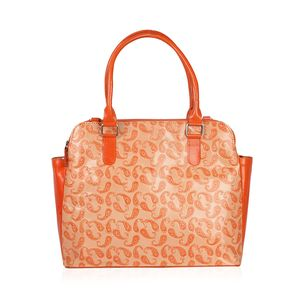 Vivid by Sukriti Handcrafted Peach Paisley Embossed Genuine Leather RFID Tote (14x5.5x11 in) with Removable Strap (58 in)