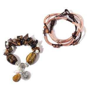 South African Tigers Eye, Multi Gemstone Rosetone Necklace or Wrap Bracelet (16.00 In) and Bracelet (Stretchable) TGW 400.00 cts.