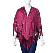 Marsala 30% Polyester and 70% Suede Laser Cut Flower Pattern Evening Shawl Wrap with Fringes (One Size)