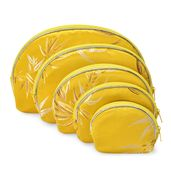 Set of 5 Golden Satin Bamboo Leaf Pattern Nesting Pouches (8.5x6, 7x5, 5.5x4, 5x3.5, 4x3 in)