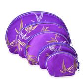 Set of 5 Purple Satin Bamboo Leaf Pattern Nesting Pouches (8.5x6, 7x5, 5.5x4, 5x3.5, 4x3 in)
