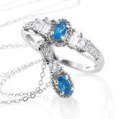 Malgache Neon Apatite, White Topaz Platinum Over Sterling Silver Ring (Size 8) and Pendant With Chain (20 in) TGW 1.25 cts.