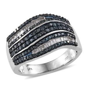 Blue Diamond (IR), Diamond Blue Rhodium & Platinum Over Sterling Silver Ring (Size 9.0) TDiaWt 1.00 cts, TGW 1.00 cts.