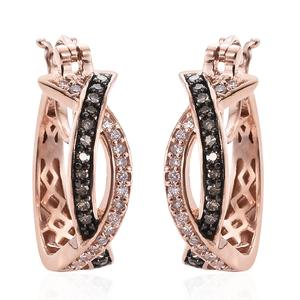 Natural Pink and Champagne Diamond 14K RG Over Sterling Silver Twisted Hoop Earrings TDiaWt 0.50 cts, TGW 0.50 cts.