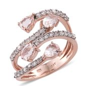 Marropino Morganite, Cambodian Zircon 14K RG Over Sterling Silver Bypass Ring (Size 7.0) TGW 2.03 cts.
