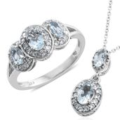 Santa Maria Aquamarine, Cambodian Zircon Platinum Over Sterling Silver Ring (Size 8) and Pendant With Chain (20 in) TGW 1.90 cts.