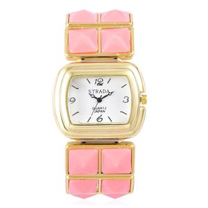 STRADA Japanese Movement Water Resistant Watch with Rose Pink Ceramic and Goldtone Strap (Stretchable) and Stainless Steel Back TGW 100.00 cts.