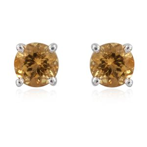 Brazilian Heliodor Platinum Over Sterling Silver Stud Earrings TGW 0.94 cts.