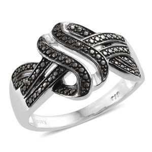 KARIS Collection - Black Diamond Accent (IR) Black Rhodium and Platinum Bond Brass Ring (Size 7.0)