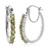 Hebei Peridot Stainless Steel Hoop Earrings TGW 3.26 cts.