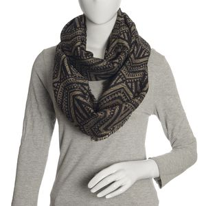 Gray, Black, and Golden Acrylic Viscose Lurex Blend Aztec Art Infinity Scarf (36x22 in)