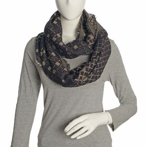 Silver, Black, and Golden Acrylic Viscose Lurex Blend Checker Infinity Scarf (36x22 in)