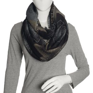 Silver, Black, and Golden Acrylic Viscose Lurex Blend Zig Zag Infinity Scarf (36x22 in)