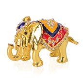 Austrian Crystal Enameled Goldtone Elephant Trinket Box (2 in)