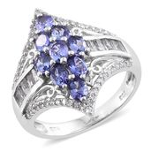 Premium AAA Tanzanite, White Topaz Platinum Over Sterling Silver Ring (Size 5.0) TGW 3.44 cts.