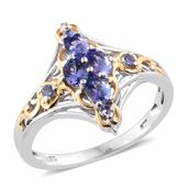 Premium AAA Tanzanite 14K YG and Platinum Over Sterling Silver Ring (Size 6.0) TGW 1.04 cts.