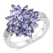 Premium AAA Tanzanite, Cambodian Zircon Platinum Over Sterling Silver Ring (Size 6.0) TGW 2.28 cts.