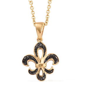 Black Diamond (IR) Accent Black Rhodium & 14K YG Over Sterling Silver Fleur De Lis Pendant With ION Plated YG Stainless Steel Chain (20 in)