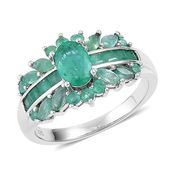 Brazilian Emerald Sterling Silver Ring (Size 10.0) TGW 2.00 cts.