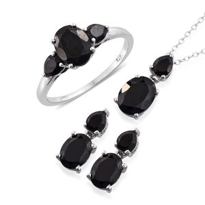 Thai Black Spinel Platinum Over Sterling Silver Earrings, Ring (Size 7) and Pendant With Chain (20 in) TGW 10.27 cts.