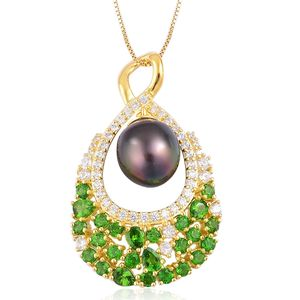 Tahitian Pearl (10-11 mm), Russian Diopside, White Zircon 14K YG Over Sterling Silver Pendant With Chain (18 in) TGW 4.14 cts.