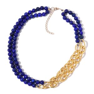 Lapis Lazuli Beads Goldtone Double Strand Link Necklace (20-22 in) TGW 422.50 cts.