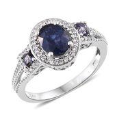 Masoala Sapphire, Catalina Iolite, Cambodian Zircon Platinum Over Sterling Silver Ring (Size 9.0) TGW 3.68 cts.