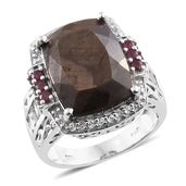 Chocolate Sapphire, Niassa Ruby, White Topaz Platinum Over Sterling Silver Cocktail Ring (Size 9.0) TGW 18.61 cts.
