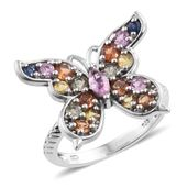 Multi Sapphire Platinum Over Sterling Silver Butterfly Ring (Size 7.0) TGW 2.36 cts.