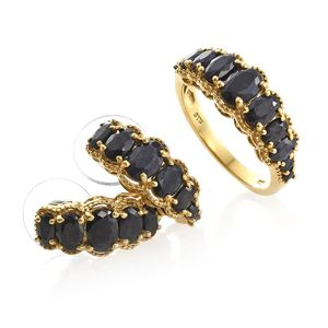 Midnight Blue Sapphire 14K YG Over Sterling Silver J-Hoop Earrings and Ring (Size 10) TGW 10.09 cts.