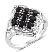 KARIS Collection - Black Sapphire Platinum Bond Brass Ring (Size 7.0) TGW 2.92 cts.