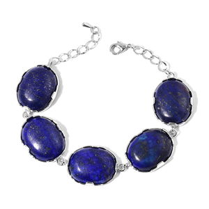 Lapis Lazuli Silvertone Section Bracelet (8.00 In) TGW 133.50 cts.