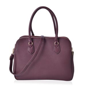 Burgundy Faux Leather Triple Compartment Shoulder Bag with Removable Strap and Standing Studs (14x6x9 in)