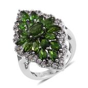 Russian Diopside, Cambodian Zircon Platinum Over Sterling Silver Ring (Size 6.0) TGW 7.71 cts.