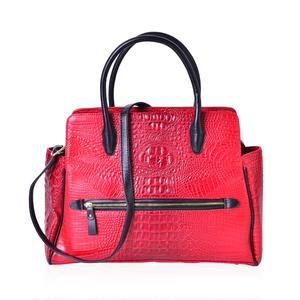 Lifestyle Must Have Red and Black Crocodile Embossed Faux Leather Tote Bag with Removable Strap and Standing Studs (16.5x5x13 in)