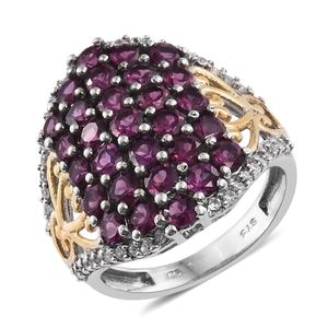 Purple Garnet, Cambodian Zircon 14K YG and Platinum Over Sterling Silver Ring (Size 6.0) TGW 6.04 cts.