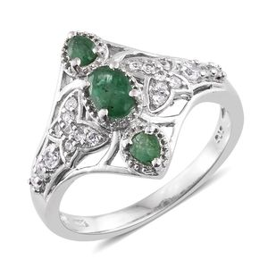 Kagem Zambian Emerald, Cambodian Zircon Platinum Over Sterling Silver Ring (Size 5.0) TGW 1.12 cts.