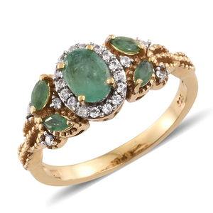 Kagem Zambian Emerald, Cambodian Zircon 14K YG Over Sterling Silver Ring (Size 5.0) TGW 1.40 cts.