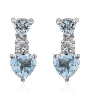 KARIS Collection - Sky Blue Topaz, White Topaz Platinum Bond Brass Drop Heart Earrings TGW 2.88 cts.