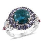 Table Mountain Shadowkite, Multi Gemstone Platinum Over Sterling Silver Ring (Size 6.0) TGW 10.09 cts.