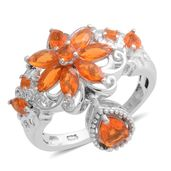 Fire Opal Sterling Silver Ring (Size 5.0) TGW 1.18 cts.
