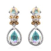 Mercury Mystic Topaz, Cambodian Zircon 14K YG and Platinum Over Sterling Silver Earrings TGW 3.61 cts.