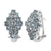 Cambodian Blue Zircon Platinum Over Sterling Silver Earrings TGW 5.92 cts.