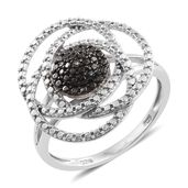 Champagne Diamond Black Rhodium & Platinum Over Sterling Silver Accent Ring (Size 7.0)