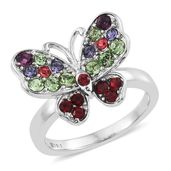 Stainless Steel Butterfly Ring (Size 5.0) Made with SWAROVSKI Multi Color Crystal TGW 1.08 cts.