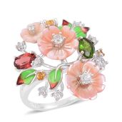Pink Mother of Pearl Carved, Multi Gemstone Sterling Silver Ring (Size 9.0) TGW 1.99 cts.